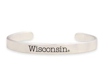 Wisconsin Badgers Silver Cuff Bracelet