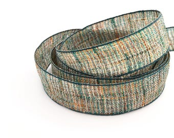Dark green, Brown and natural hemp Ribbon