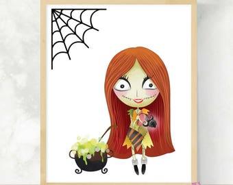 Nightmare Sally | Simply Meant To Be | Cute Halloween Print | Jack and Sally | Halloween Wall Art | Nightmare Movie Art | Kids Halloween Art