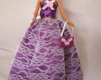 Long dress in purple satin lined lace (B199)