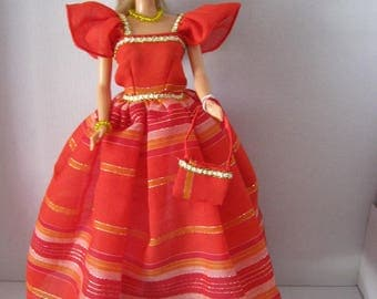 Red dress has stripes with a golden thread (B111)