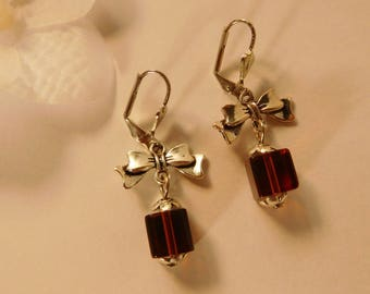 Bow purple glass cube bead earrings