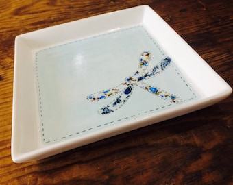 Trinket, ring dish, bespoke floral dragonfly ceramic. GIFT WRAPPING AVAILABLE