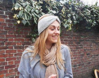 Light gray, seed stitch headband