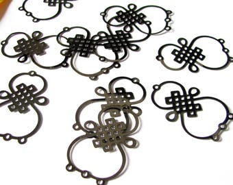 Set of 10 connectors 4 holes in the shape of bows Chinese 31x19mm