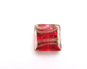 One glass square red and gold,glass beads,glass square,square beads, jewelry making