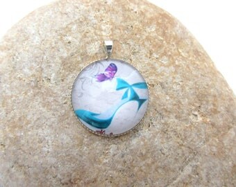 A pendant with glass cabochon Shoes, glass cabochon pendant, silver pendant
