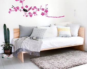 Cherry Blossom Branch Wall Decal-Bird Wall Decals-Wall Stickers-Decals -Wall Art Murals Cherry Vinyl Wall Decal-Modern Tree Decal