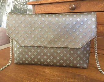 Glitter gray and glossy brown evening bag with detachable silver chain
