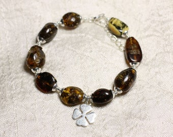 Bracelet Sterling Silver 925 and natural amber - olive 12-18mm and 4 clover leaves