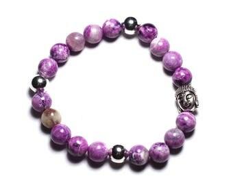 Gemstone - 8 mm Sugilite and Buddha bracelet