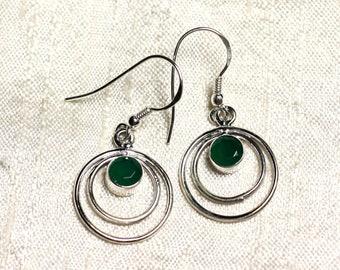 BO202 - circles 18mm Emerald 925 Sterling Silver earrings