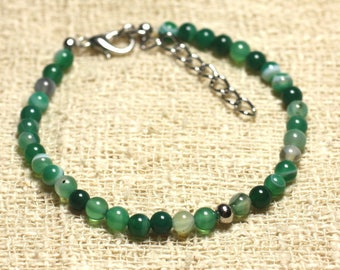 Bracelet 925 sterling silver and semi precious Green Agate 4 mm