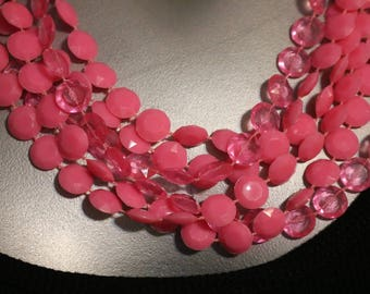 Super Long Pink Beads Multi Strand Vintage Costume Necklace 47 Inches Costume 1970s Faceted Plastic