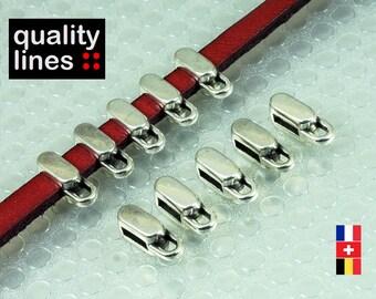 x 5 - loop silver zamak cord 2 mm 5mm flat leather ring - slide 5 mm