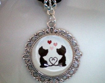Retro round Cabochon glass cats lover Metal Medallion
