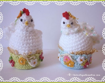 Pair of funny hens on nests for home decor