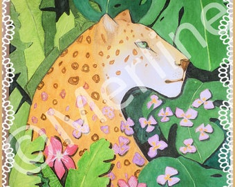 TO order: Wall decor, nature painting, watercolor jaguar head