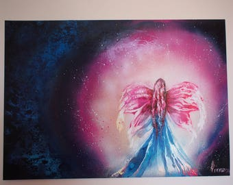 THE spray paint: Angel of night on the poster. Spray paint art. Spray painting.