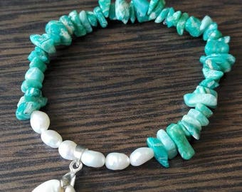 Amazonite - river pearl bracelet with seashell charm
