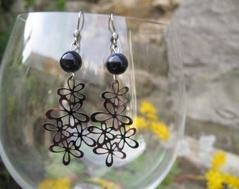 Flower Earrings in steel and stone of the stars