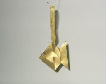 Set of five decorative Christmas origami fish