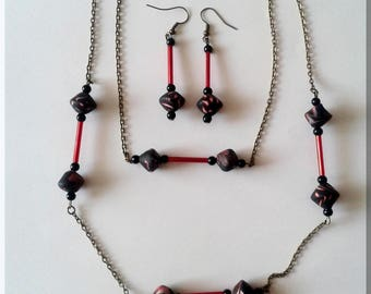 Set necklace-black, red and white beads and earrings red tube beads