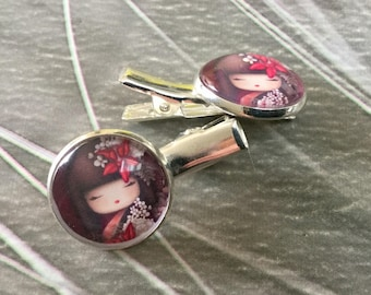 Two small hair clips or bookmarks Japanese small Alligator Clip.