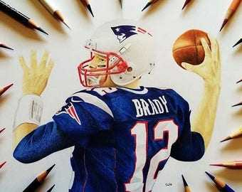 A4 Tom Brady COLOURED PENCIL DRAWING - on high quality paper