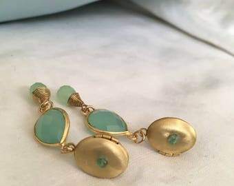 Aqua Chalcedony Love Locket drop earrings (Love Tokens)