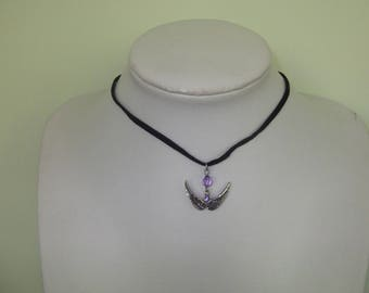 Black Choker necklace, wings charm