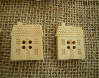 Set of 2 buttons with four holes wood houses, size 20 25 mm