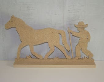 Horse with farmer on mdf wood base has customize: 16,5 x L 28.5 cm approx