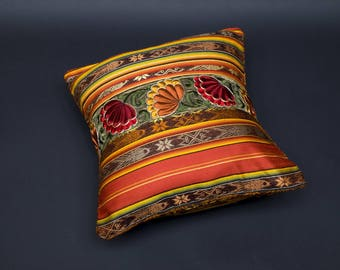 FALL flowers: 2 cushion covers COLLECTION HACIENDA - shades of Orange-