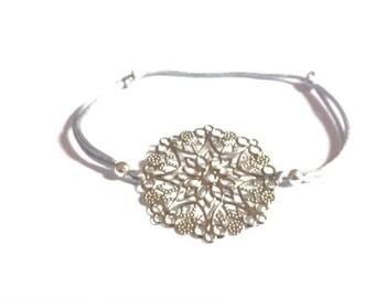 Finely engraved print rosette mandala silver bracelet