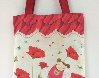 "Tote bag ""poppies"" - library bag"