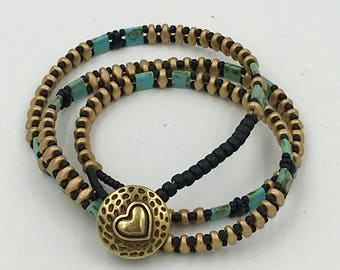 Turquoise Black and Silver Wrap Bracelet/Necklace with Gold Heart Button