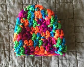 Crotchet Newborn Beanie- Crazy Neon