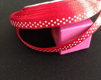 5 meters - Ribbon - red polka dot - satin width: 0.8 cm