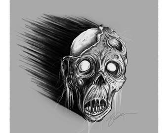 Flesh Rot - Ghoulish Monster Zombie Horror Art Print
