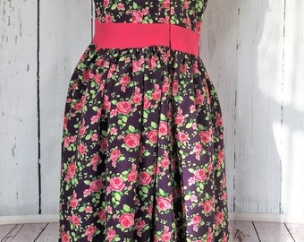 Evening Dress Pink Floral Design UK Size 10 Slim