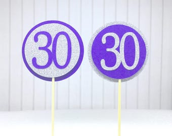 "30th Birthday Cupcake Toppers - Silver Glitter & Violet Purple ""30"" - Set of 12 - Elegant Cake Cupcake Age Topper Picks Party Decorations"