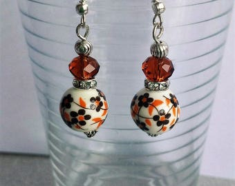 Porcelain and swarowski crystal earrings Brown (2)