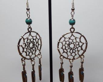 Earrings dream catcher beaded turquoise 1