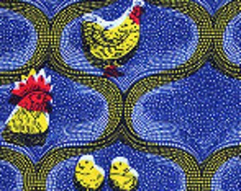 Wax fabric family - roosters, hens and chicks