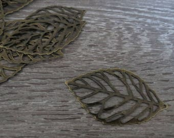 Lot 20 large leaf 55 X 32mm bronze filigree, engraving, pendant and connector bronze metal, nickel free