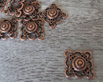 Connectors, square, copper, vintage earring, 23mm