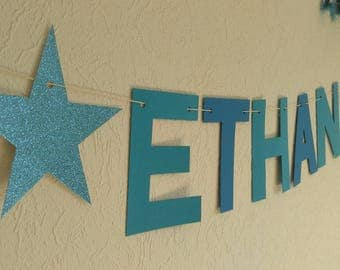 Name banner with glitter stars