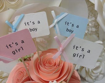 Baby shower/birth announcement party picks, cupcake toppers, it's a boy, it's a girl