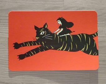Postcard, paper cut, wild cat